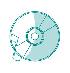 blue shading silhouette of music compact disc vector image