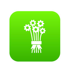 bouquet of flowers icon digital green vector image