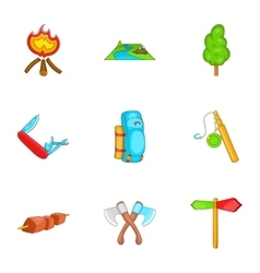 Campground icons set cartoon style vector image