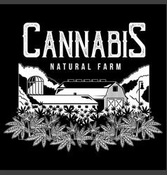 cannabis natural farm print vector image