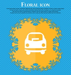 Car icon sign Floral flat design on a blue vector