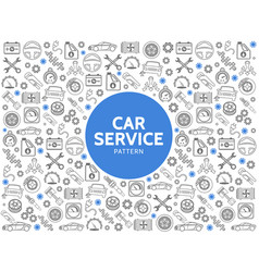 Car service line icons pattern vector