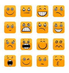 Cartoon emoticons or facial emotions set vector