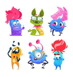 cartoon monsters halloween gremlins funny vector image