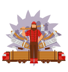 Character male lumberjack in red hat axe truck vector