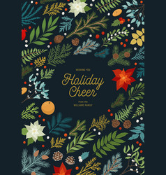christmas invitation with plants floral vector image