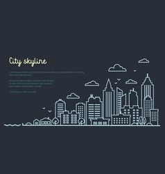 City landscape template thin line night city vector