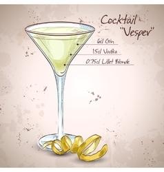 Cocktail Vesper mixed drink vector
