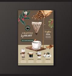 Coffee cup type american cappuccino espresso vector