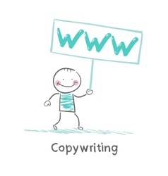 Copywriter holding a sign saying vector image