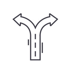 crossroad arrows line icon sign vector image