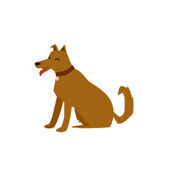 cute brown cartoon dog sitting with happy face vector image