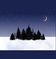 Dark pine trees in winter field and night sky vector
