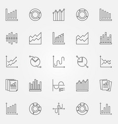 Diagram and graph icons set vector