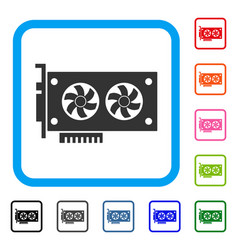Dual gpu videocard framed icon vector
