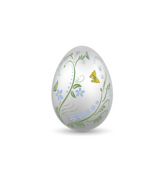 easter egg 3d icon silver shine egg isolated vector image