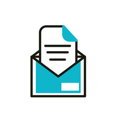 email letter social media icon line and fill vector image