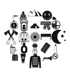 family camping icons set simple style vector image