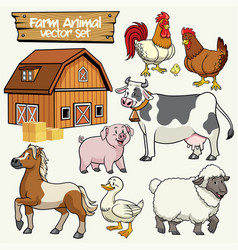 Farm set cartoon style livestock animal vector