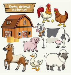Farm set cartoon style of livestock animal vector