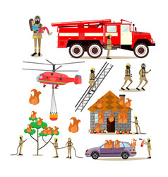 Flat icons set of firefighter profession vector