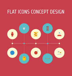 Flat icons yarn meter jewelry and other vector