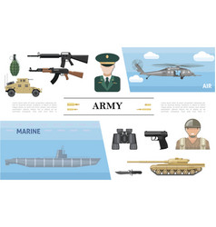 flat military elements concept vector image