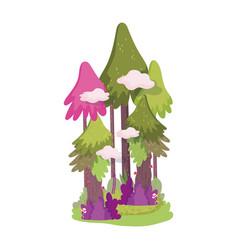 forest trees bush foliage mushroom vegetation vector image