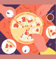 friends dinner with pizza top view lunch fast vector image