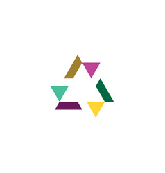 geometric triangle abstract colorful tech logo vector image