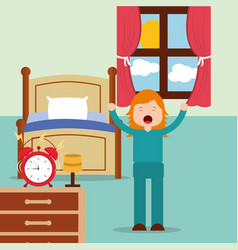 Girl waking up and stertching near bed at home vector