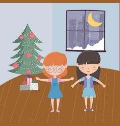 Girls with tree gifts window moon snow living room vector