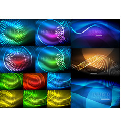 glowing wave lines background collection abstract vector image