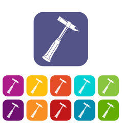hammer slag of welder icons set flat vector image