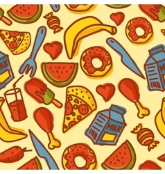 Hand made food seamless pattern vector