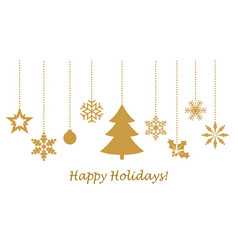 hanging golden snowflakes vector image