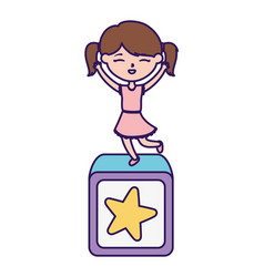 Happy childrens day little girl on toy vector
