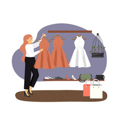 happy woman shopping for dress in woman clothing vector image