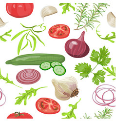 Herbs and vegetables pattern vector