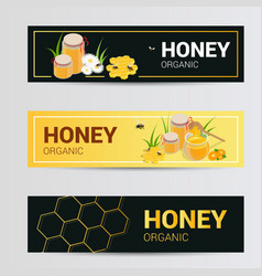 horizontal banners set with sweet honey vector image