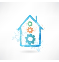 House mechanism grunge icon vector