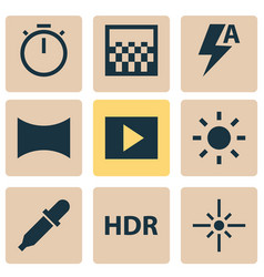 Image icons set with automatic hdr slideshow and vector