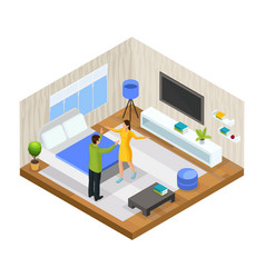 isometric stress in family concept vector image