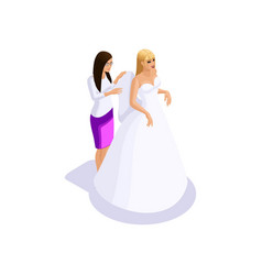 isometrics woman preparing for wedding the vector image
