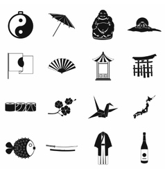 Japan icons set black vector