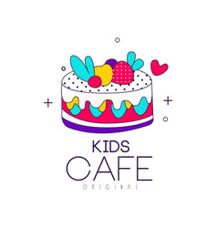kids cafe logo original bright badge with cake vector image