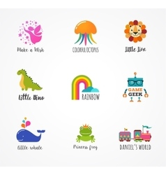 Kids children icons and logos childhood elements vector image