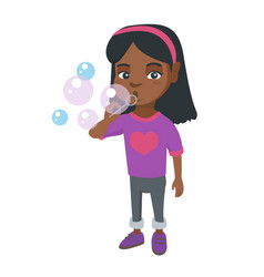 Little african-american girl blowing soap bubbles vector