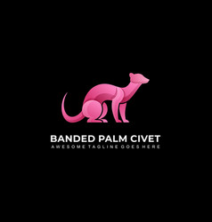 Logo banded palm civet sitting gradient colorful vector