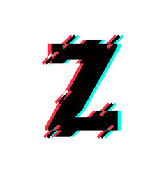 logo letter z glitch distortion diagonal vector image